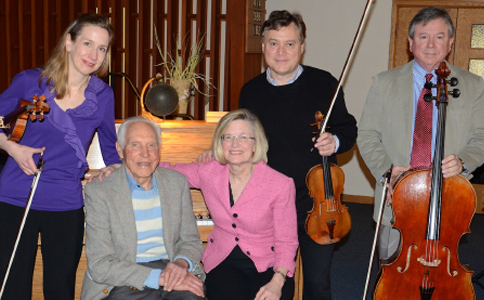 Rudy and some of his favourite musicians, from left, Nancy Dahn, Lynn Stodola, Philippe Djokic and Ifan Williams.